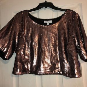 Boutique + cropped sequin top.